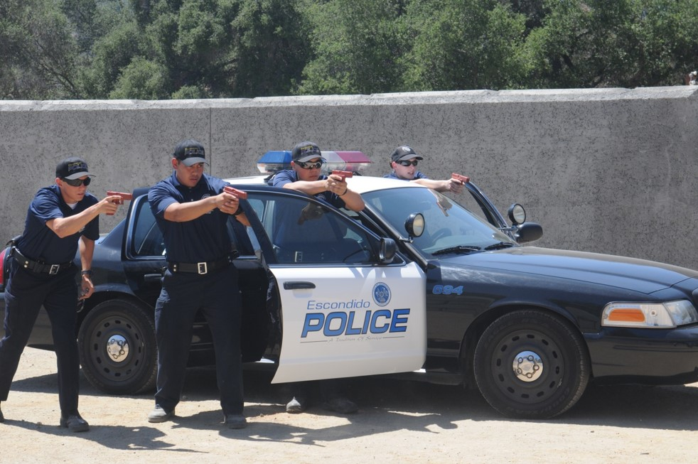 Escondido Police Cadets participating in high-risk vehicle stop training.""